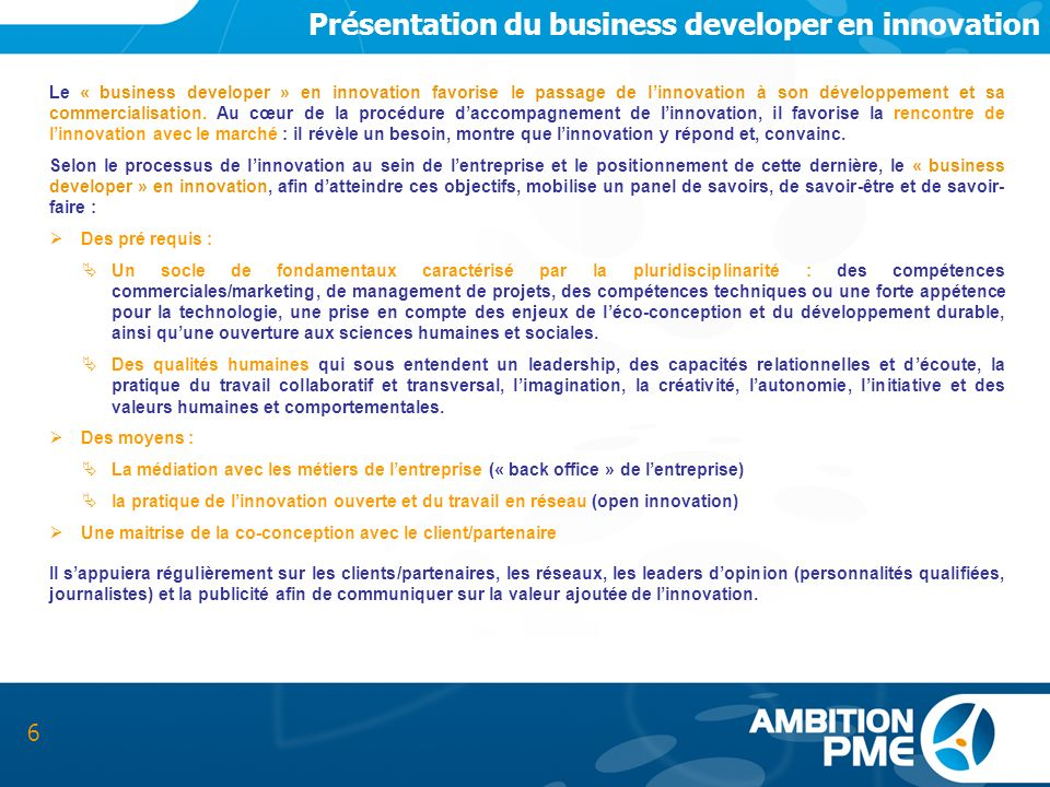 Présentation du business developer en innovation
