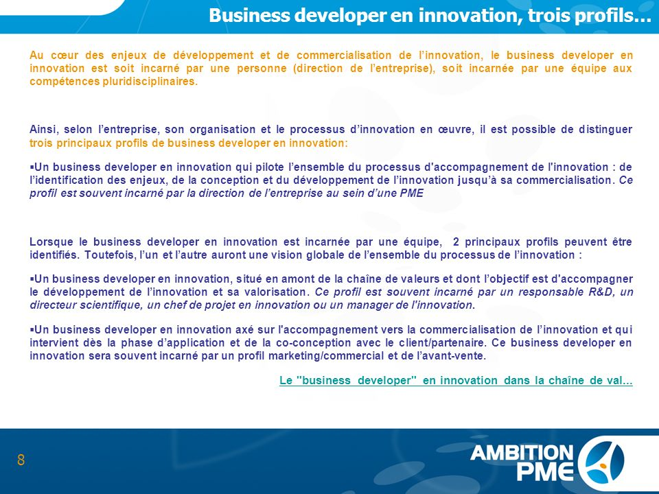 Business developer en innovation, trois profils…