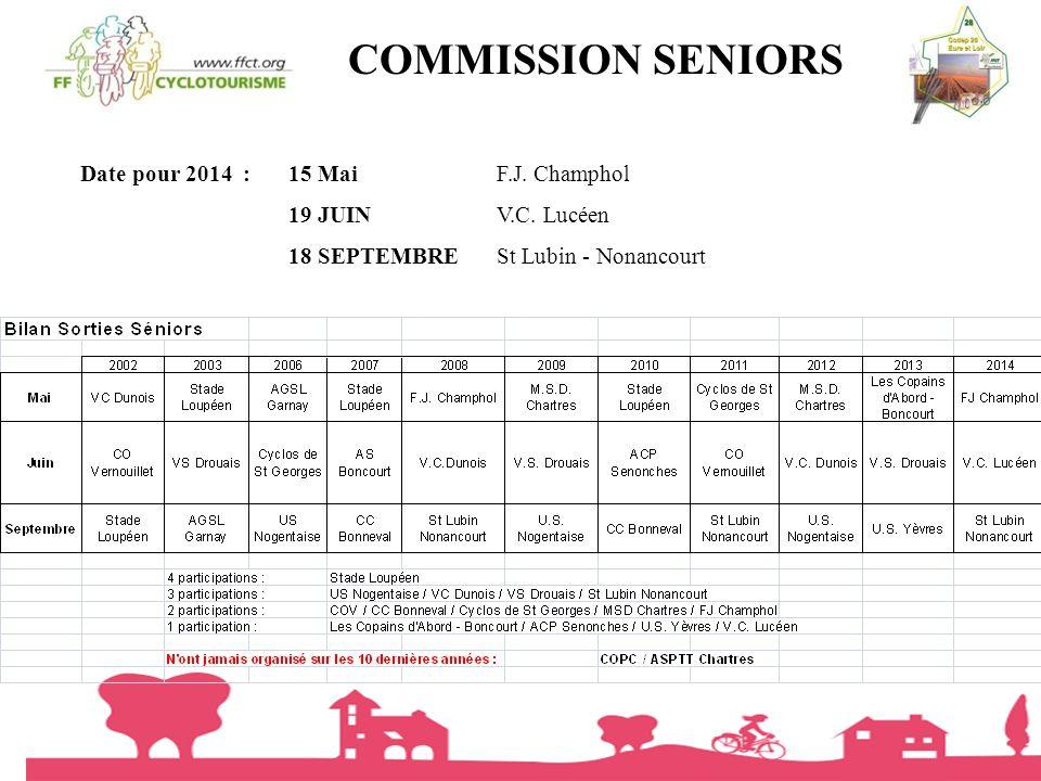 COMMISSION SENIORS Date pour 2014 : 15 Mai F.J. Champhol