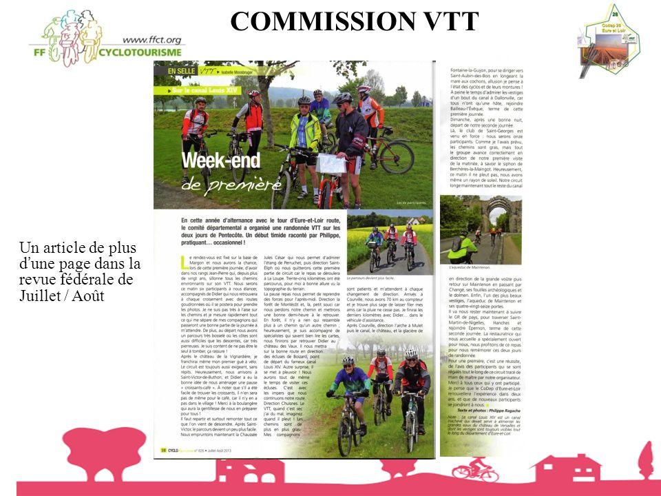 COMMISSION VTT Un article de plus d'une page dans la revue fédérale de Juillet / Août