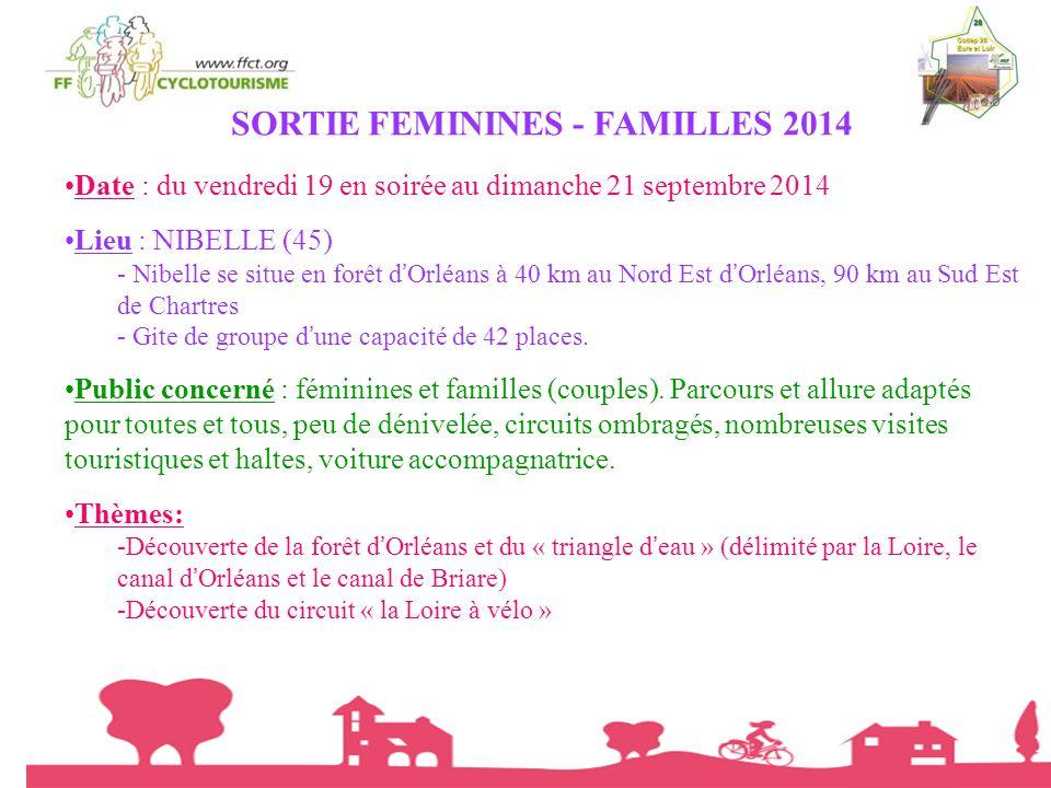 SORTIE FEMININES - FAMILLES 2014