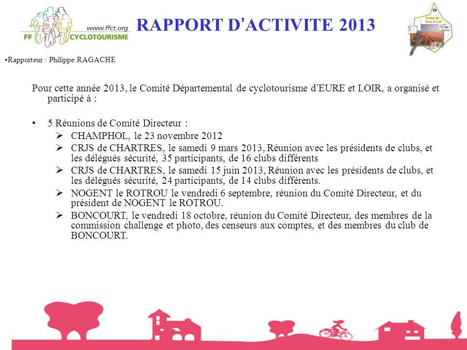 RAPPORT D'ACTIVITE 2013 Rapporteur : Philippe RAGACHE.