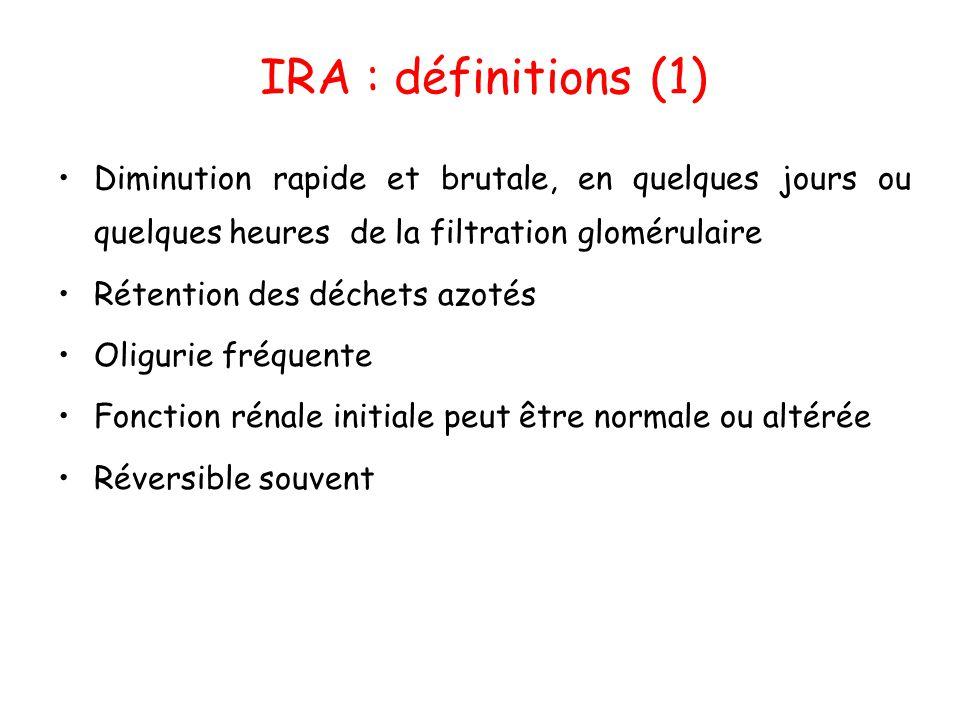 IRA : définitions (1) Diminution rapide et brutale, en quelques jours ou quelques heures de la filtration glomérulaire.