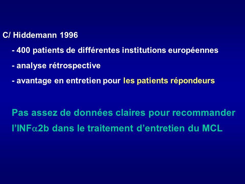 C/ Hiddemann 1996- 400 patients de différentes institutions européennes. - analyse rétrospective.