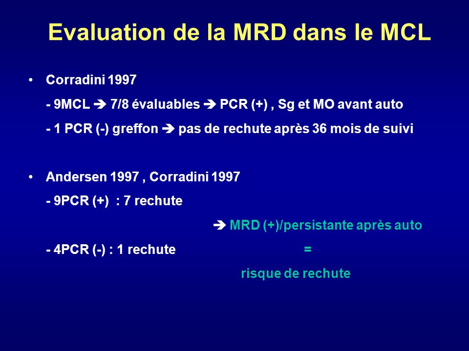 Evaluation de la MRD dans le MCL