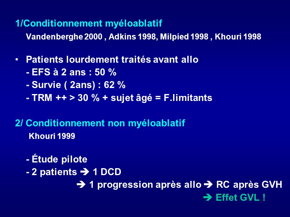 1/Conditionnement myéloablatif