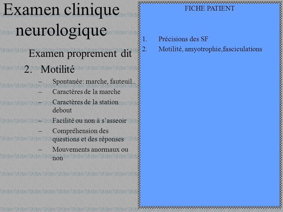Examen clinique neurologique