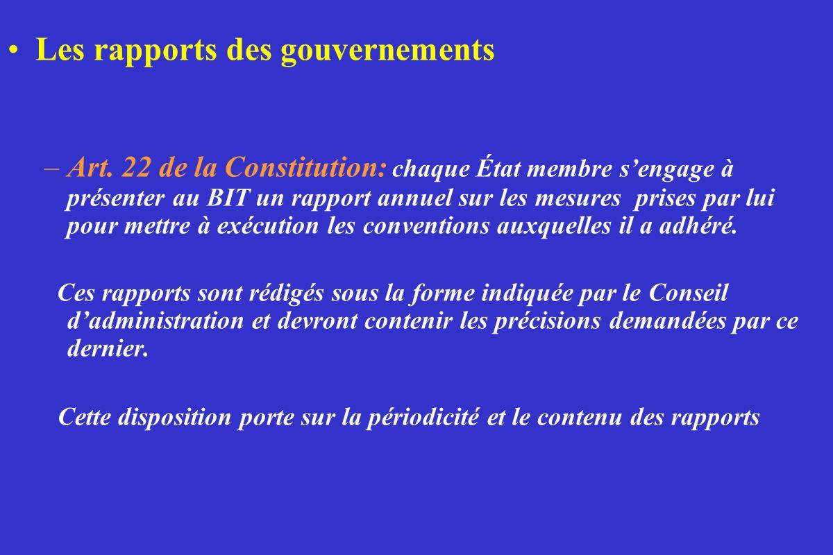 Les rapports des gouvernements