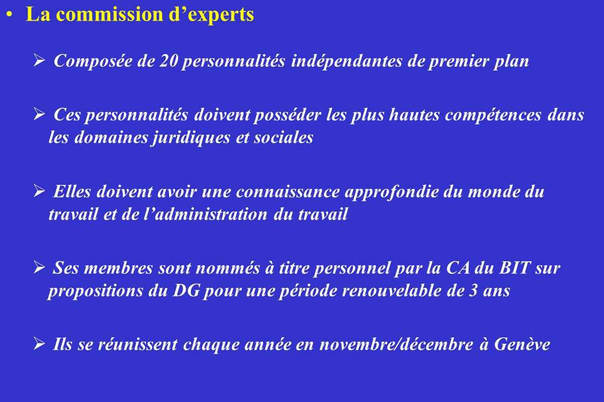 La commission d'experts
