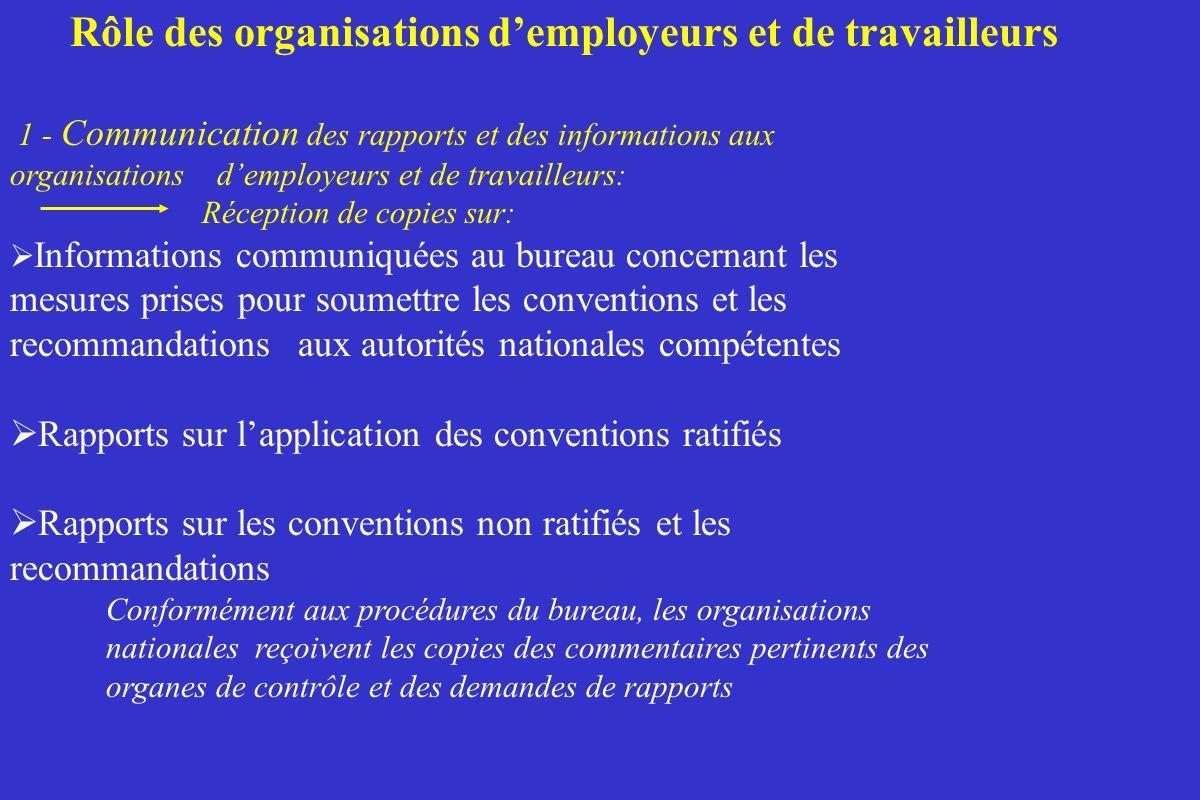 Rôle des organisations d'employeurs et de travailleurs