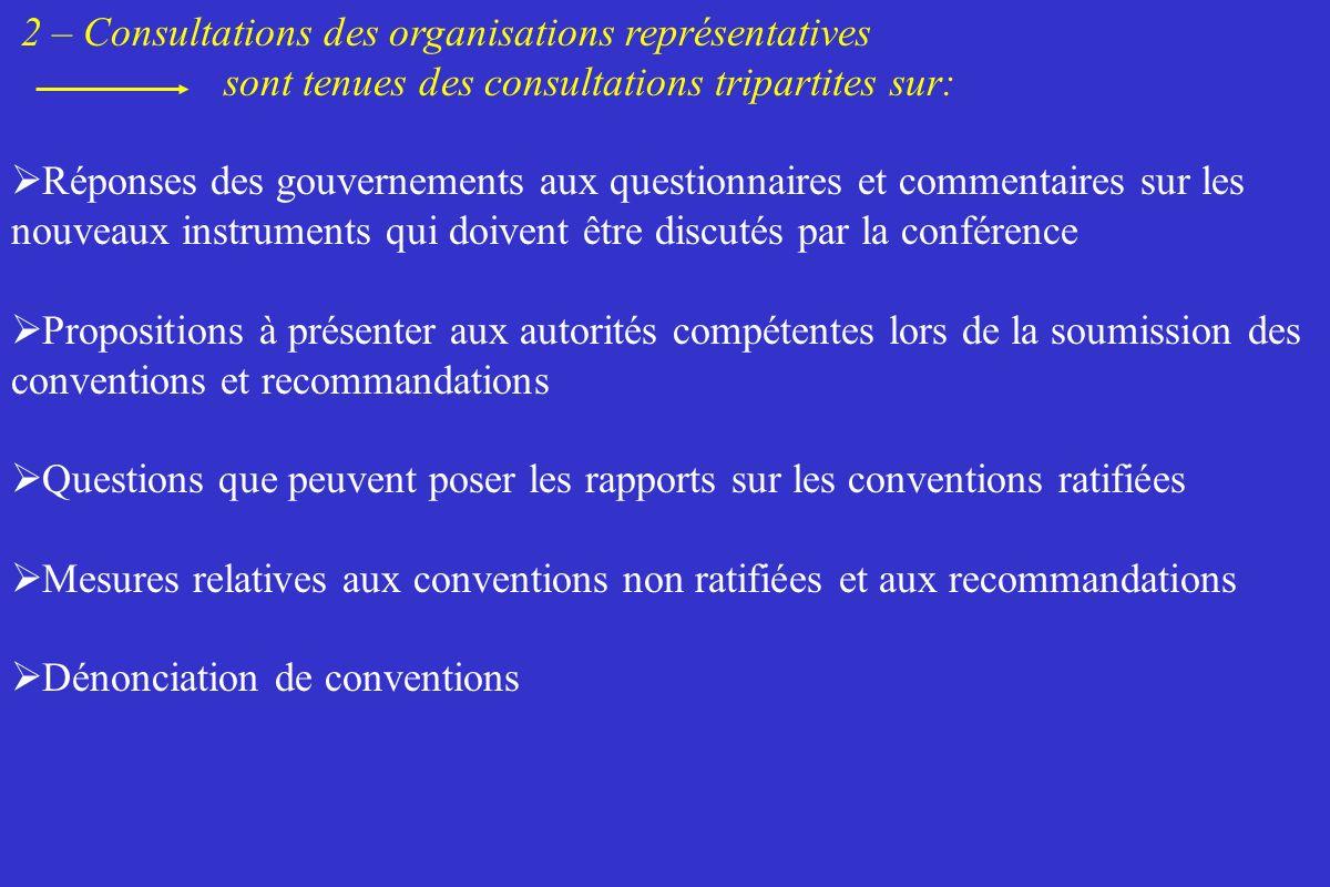 2 – Consultations des organisations représentatives