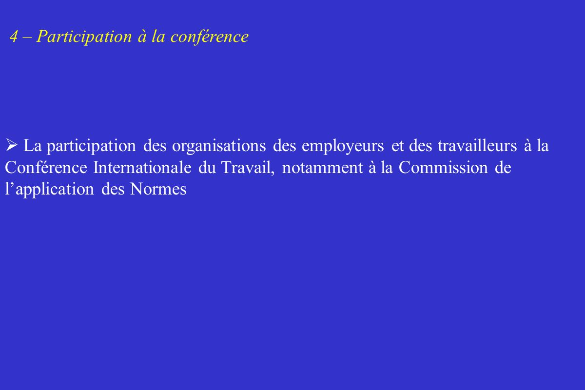 4 – Participation à la conférence