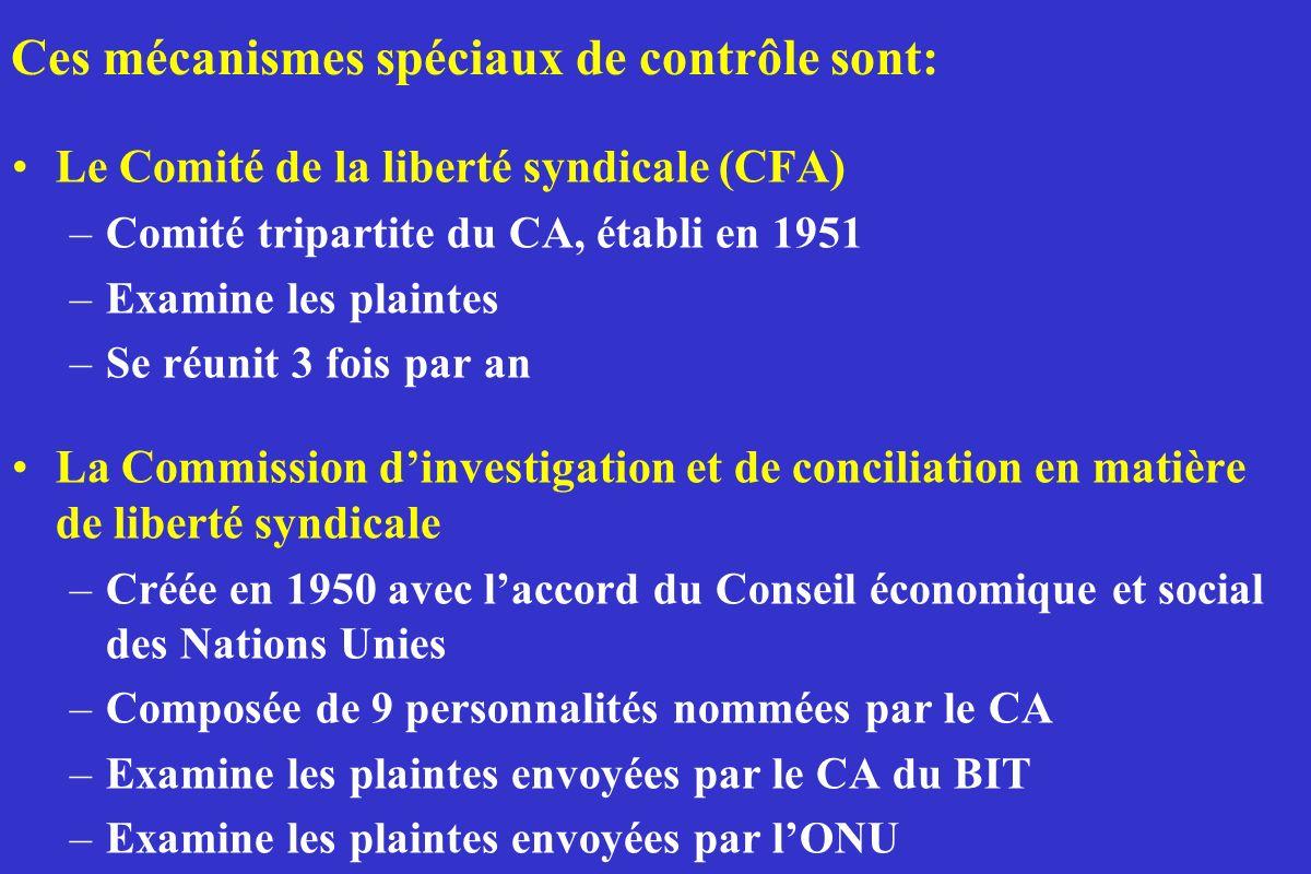 Ces mécanismes spéciaux de contrôle sont: