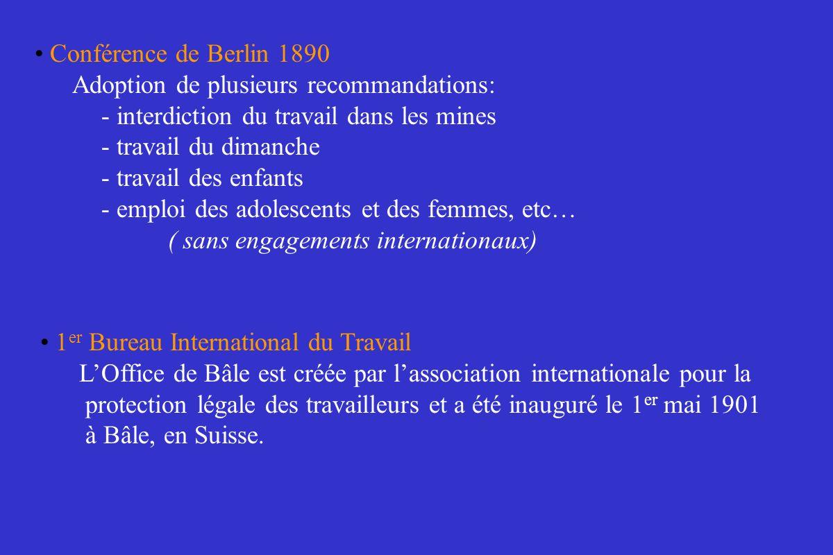 Conférence de Berlin 1890Adoption de plusieurs recommandations: - interdiction du travail dans les mines.