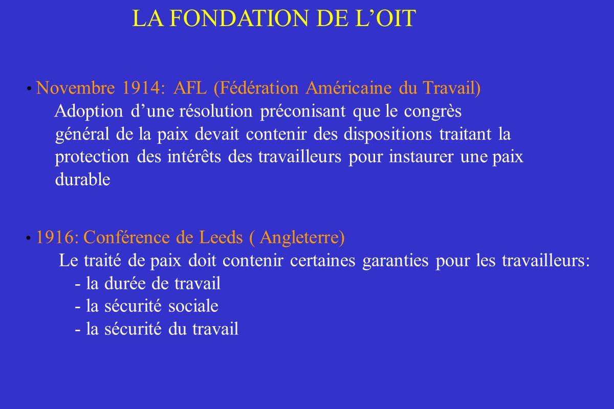 LA FONDATION DE L'OIT Novembre 1914: AFL (Fédération Américaine du Travail) Adoption d'une résolution préconisant que le congrès.