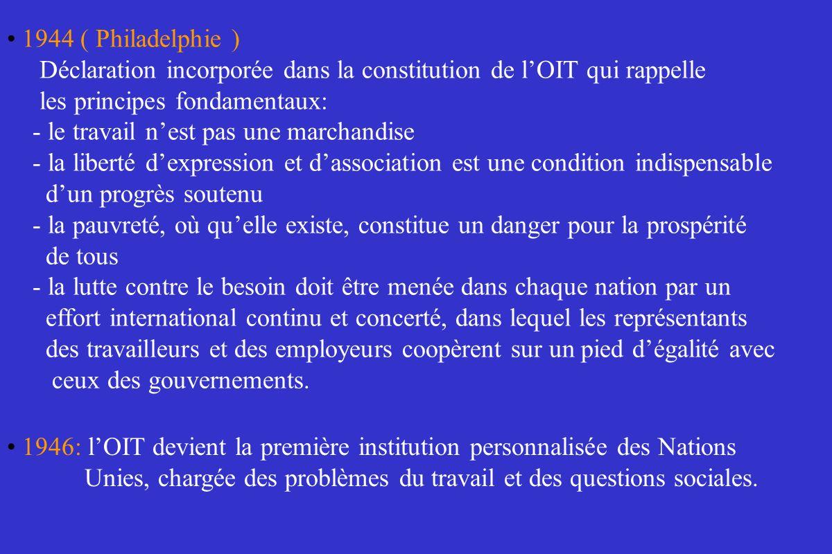 1944 ( Philadelphie )Déclaration incorporée dans la constitution de l'OIT qui rappelle. les principes fondamentaux:
