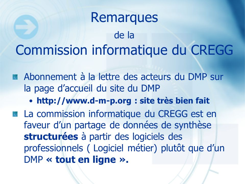 Remarques de la Commission informatique du CREGG