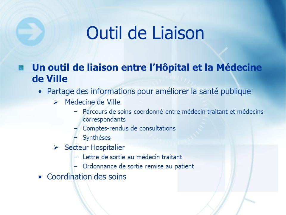 Outil de LiaisonUn outil de liaison entre l'Hôpital et la Médecine de Ville. Partage des informations pour améliorer la santé publique.