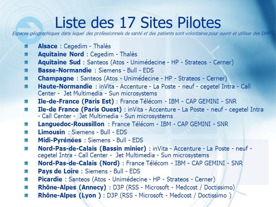 Liste des 17 Sites Pilotes