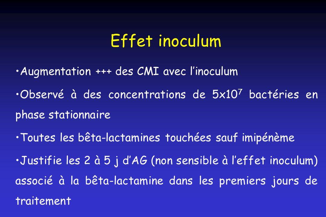 Effet inoculum Augmentation +++ des CMI avec l'inoculum