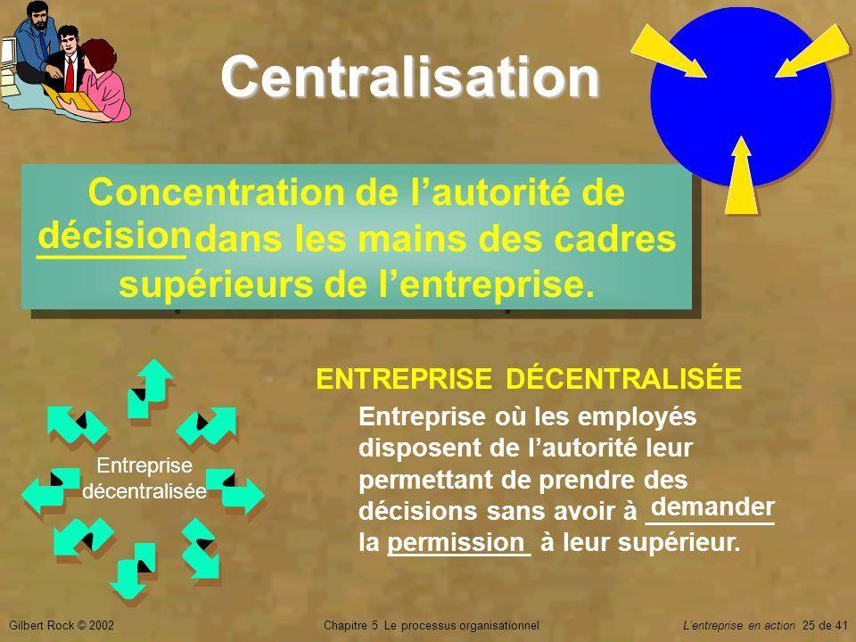 Centralisation Concentration de l'autorité de _______ dans les mains des cadres supérieurs de l'entreprise.