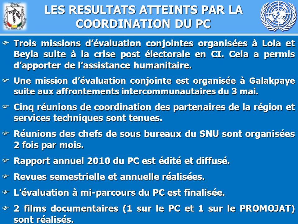 LES RESULTATS ATTEINTS PAR LA COORDINATION DU PC