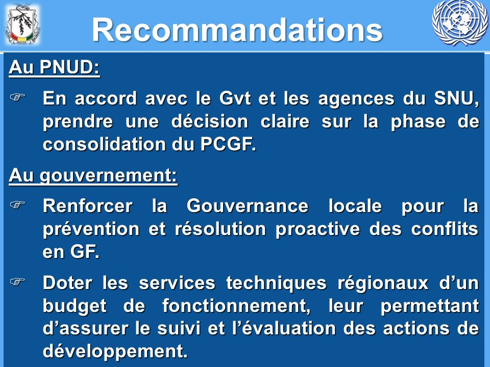 Recommandations Au PNUD: