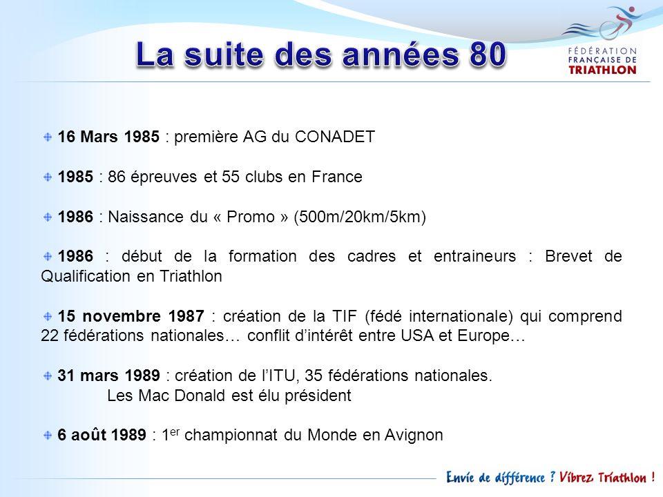 La suite des années 80 16 Mars 1985 : première AG du CONADET