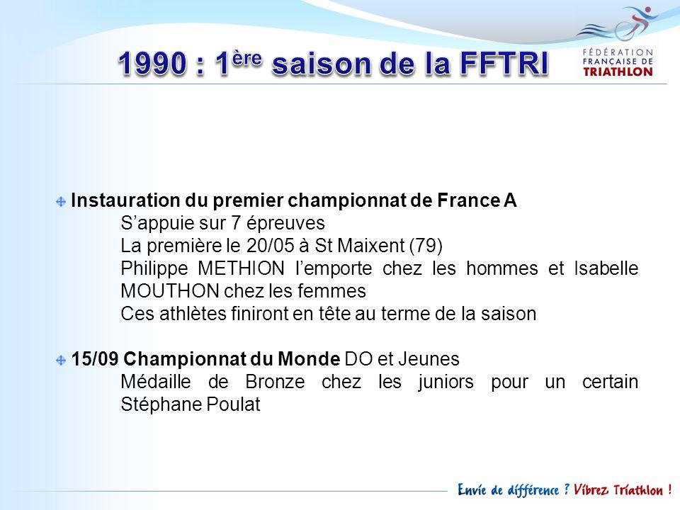 1990 : 1ère saison de la FFTRI Instauration du premier championnat de France A. S'appuie sur 7 épreuves.