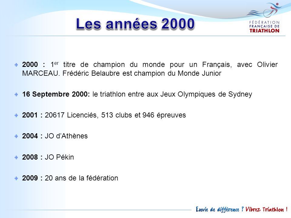 Les années 2000 2000 : 1er titre de champion du monde pour un Français, avec Olivier MARCEAU. Frédéric Belaubre est champion du Monde Junior.