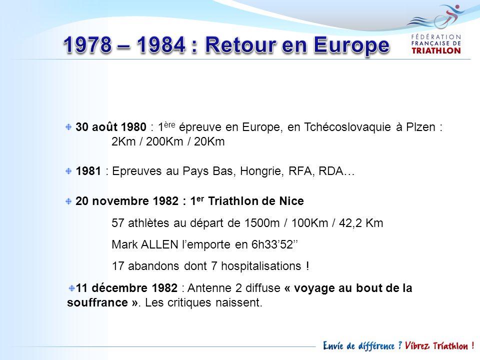 1978 – 1984 : Retour en Europe 30 août 1980 : 1ère épreuve en Europe, en Tchécoslovaquie à Plzen : 2Km / 200Km / 20Km.