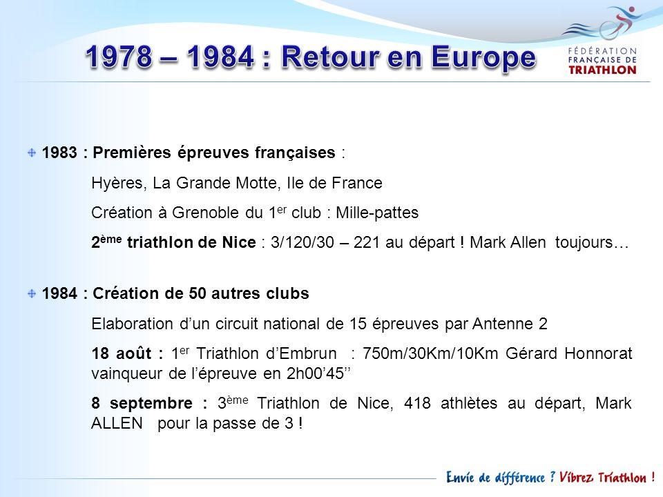 1978 – 1984 : Retour en Europe 1983 : Premières épreuves françaises :
