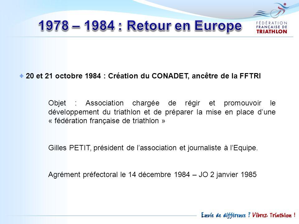 1978 – 1984 : Retour en Europe 20 et 21 octobre 1984 : Création du CONADET, ancêtre de la FFTRI.