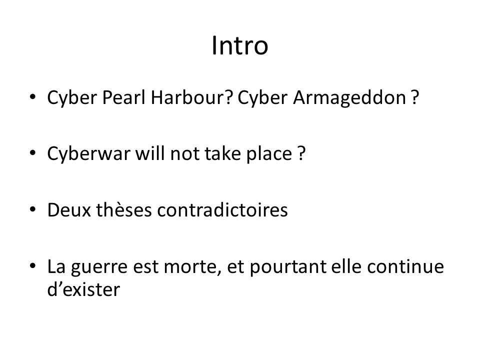 Intro Cyber Pearl Harbour Cyber Armageddon