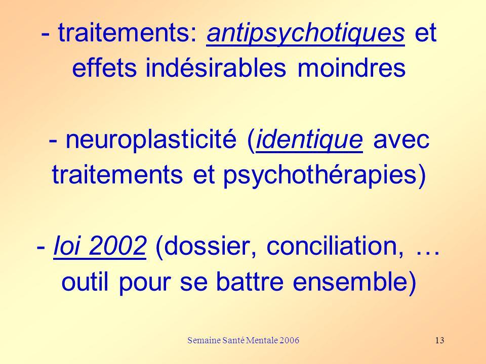 - traitements: antipsychotiques et effets indésirables moindres - neuroplasticité (identique avec traitements et psychothérapies) - loi 2002 (dossier, conciliation, … outil pour se battre ensemble)