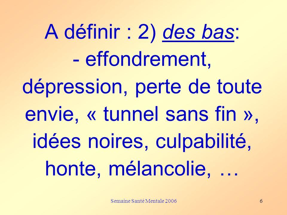 A définir : 2) des bas: - effondrement, dépression, perte de toute envie, « tunnel sans fin », idées noires, culpabilité, honte, mélancolie, …