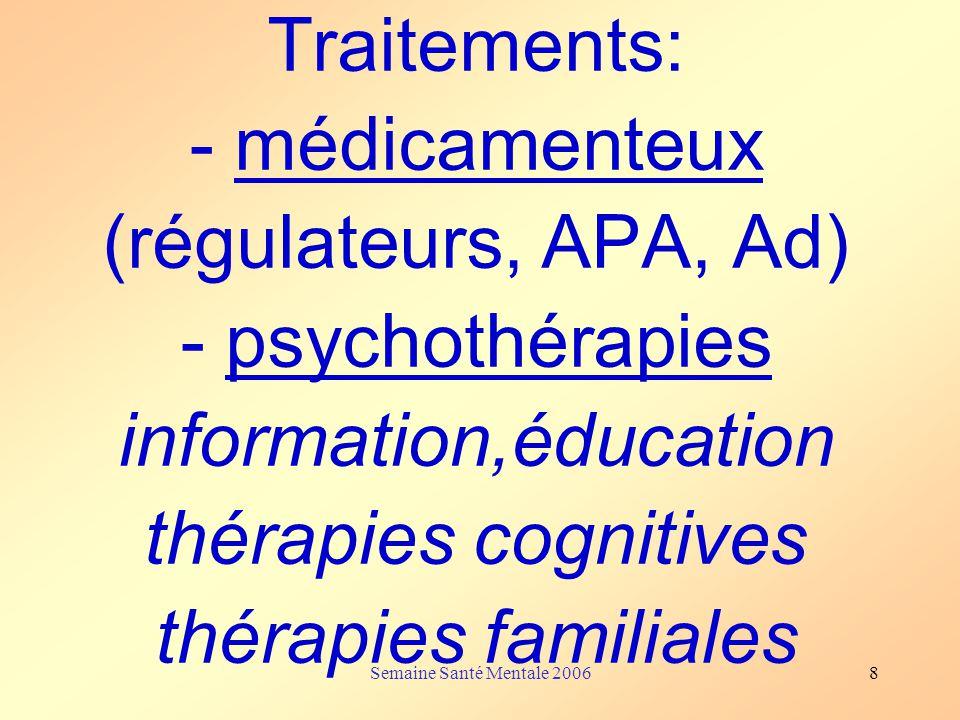 Traitements: - médicamenteux (régulateurs, APA, Ad) - psychothérapies information,éducation thérapies cognitives thérapies familiales