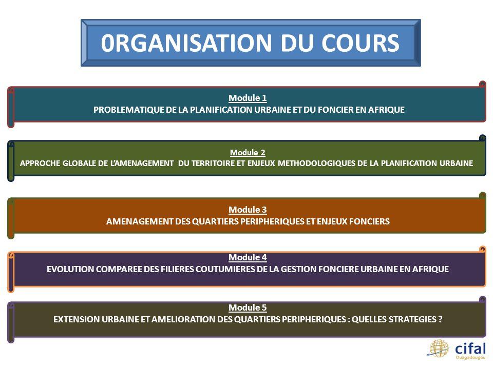 0RGANISATION DU COURS Module 1