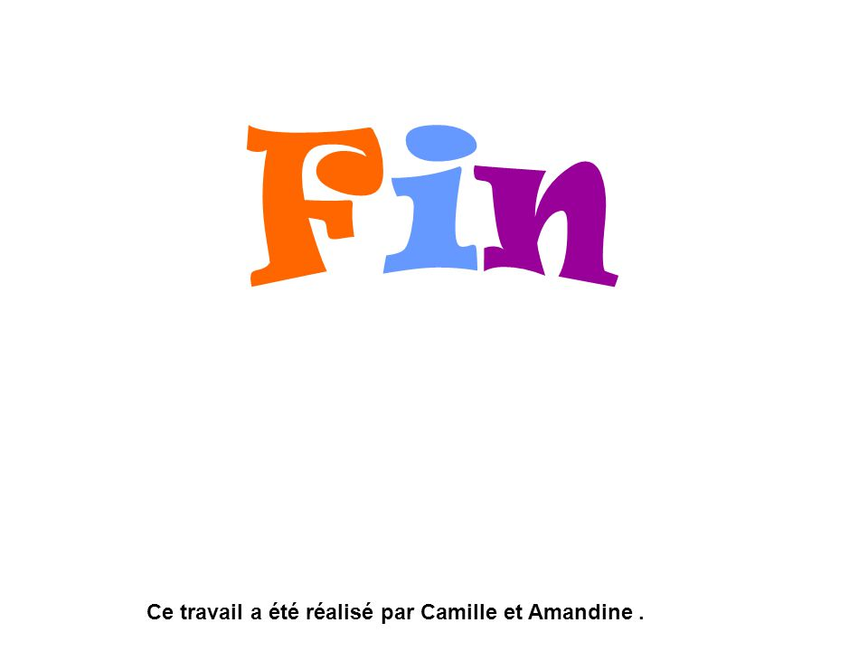 Fin Ce travail a été réalisé par Camille et Amandine .