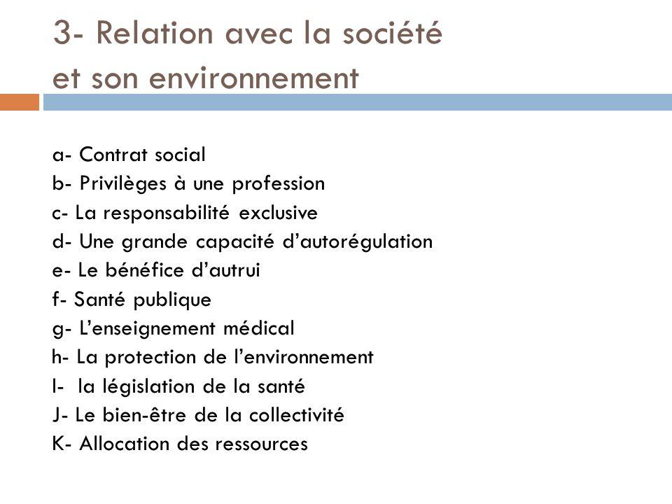 3- Relation avec la société et son environnement