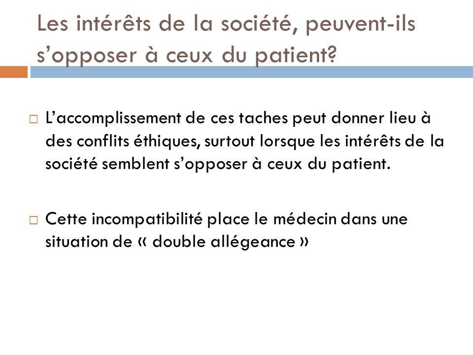 Les intérêts de la société, peuvent-ils s'opposer à ceux du patient