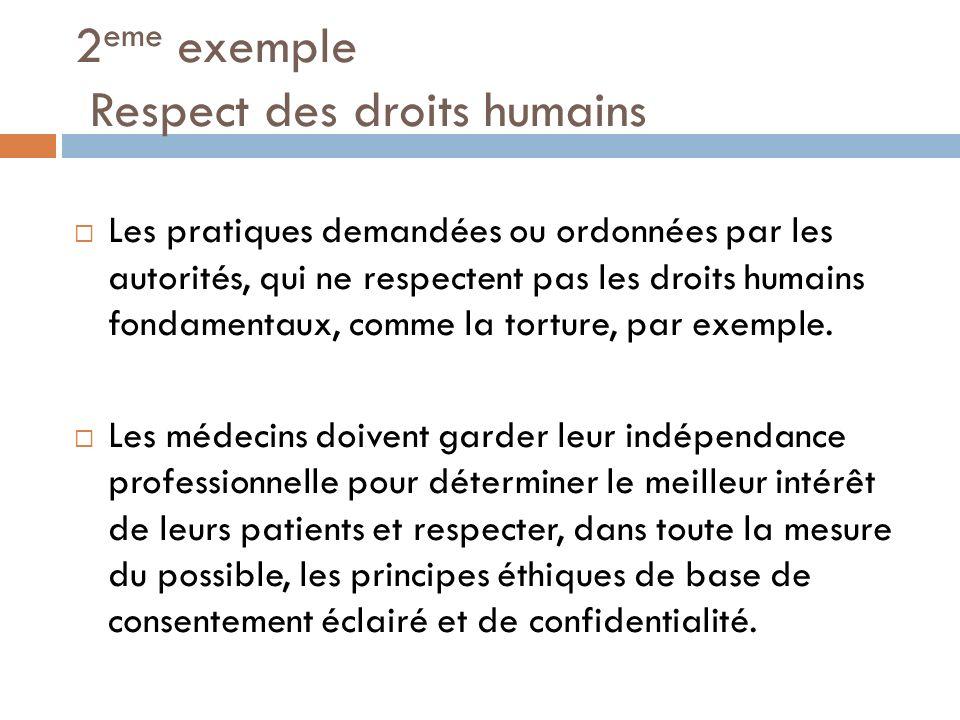 2eme exemple Respect des droits humains