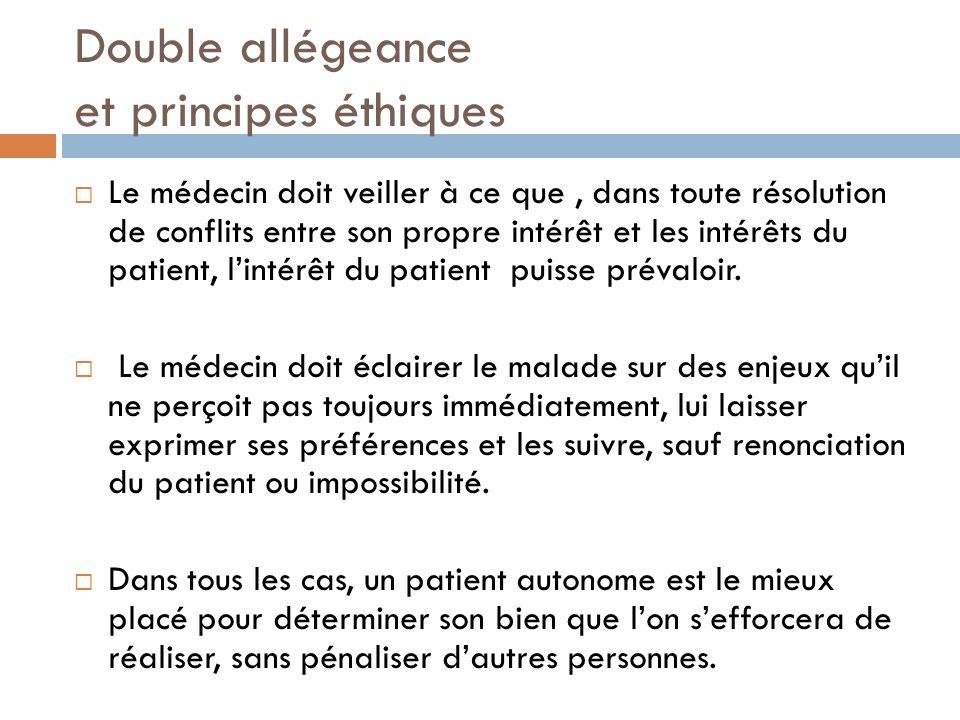 Double allégeance et principes éthiques