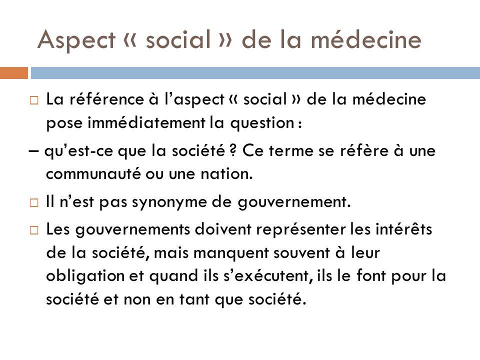 Aspect « social » de la médecine