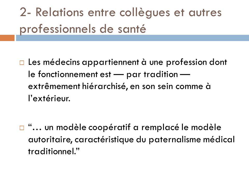 2- Relations entre collègues et autres professionnels de santé