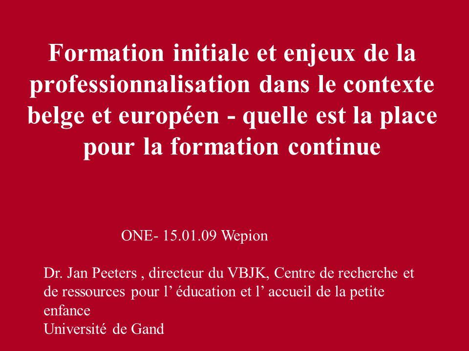 Formation initiale et enjeux de la professionnalisation dans le contexte belge et européen - quelle est la place pour la formation continue