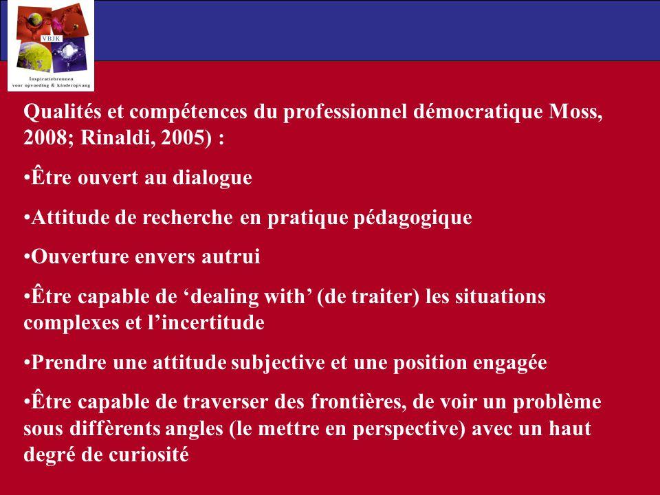 Qualités et compétences du professionnel démocratique Moss, 2008; Rinaldi, 2005) :