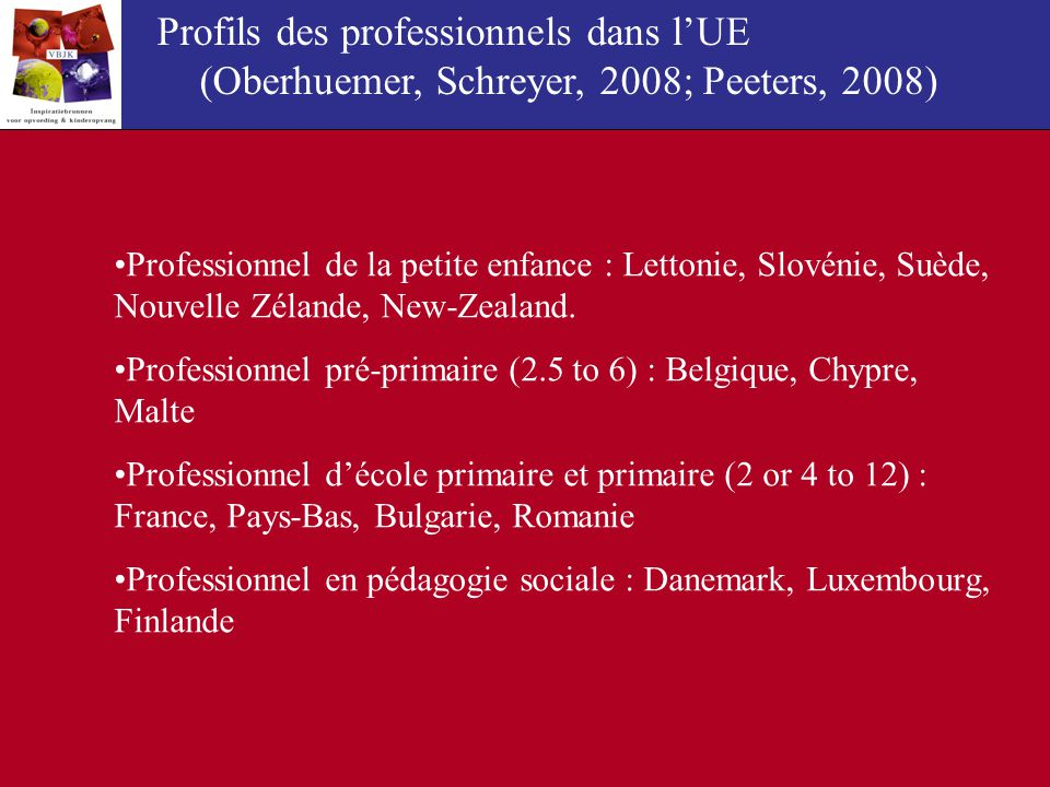 Profils des professionnels dans l'UE (Oberhuemer, Schreyer, 2008; Peeters, 2008)