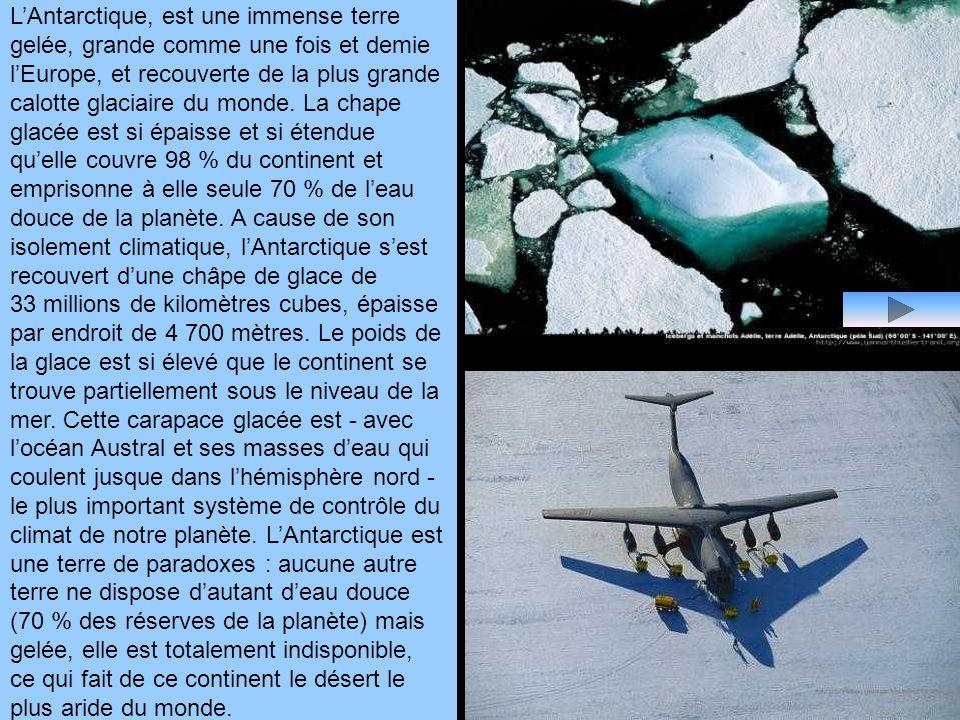 L'Antarctique, est une immense terre gelée, grande comme une fois et demie l'Europe, et recouverte de la plus grande calotte glaciaire du monde.