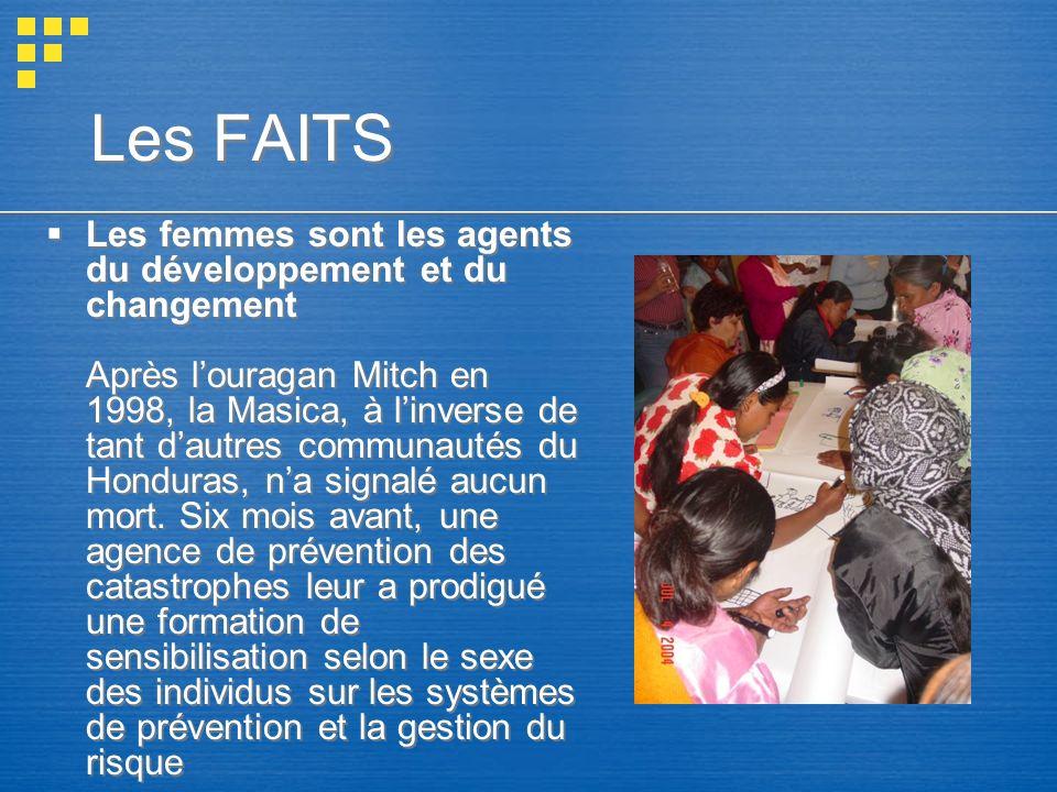 Les FAITS Les femmes sont les agents du développement et du changement